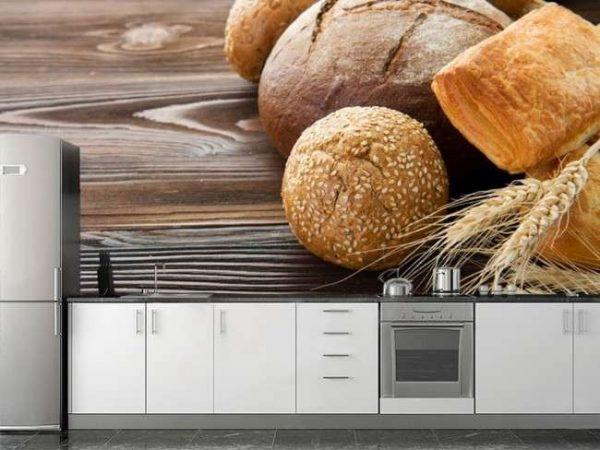 фотообои с хлебом в интерьере кухни