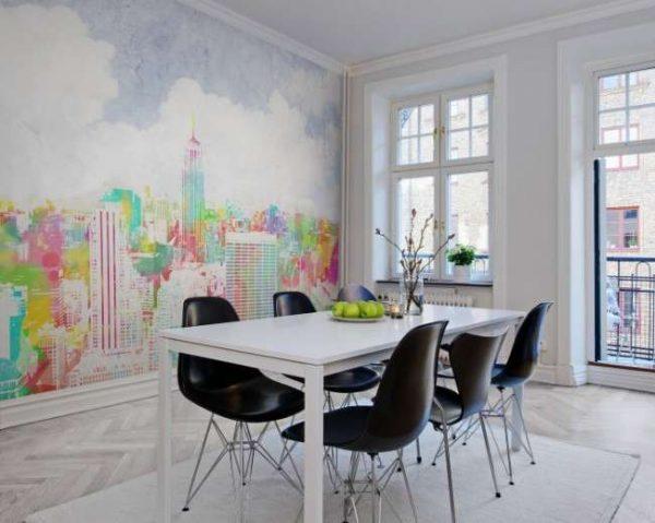 фотообои с картиной города в интерьере кухни
