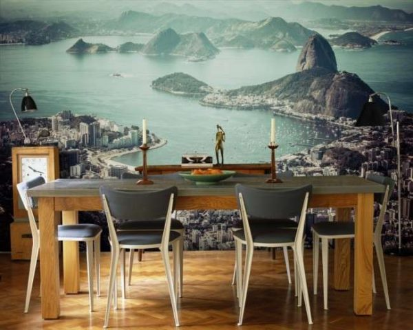 пейзаж города на фотообоях в кухне