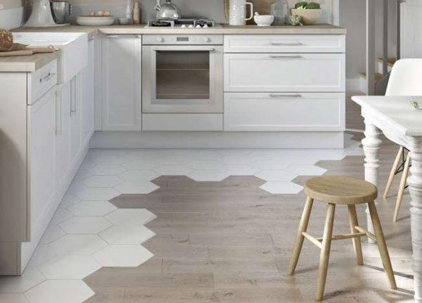 оригинальный дизайн плитка на полу кухни