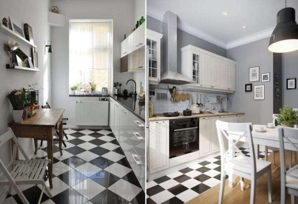 чёрно белая плитка на полу кухни в шахматном порядке