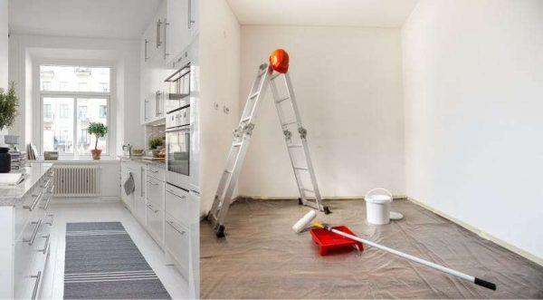 побелка потолка на небольшой кухне
