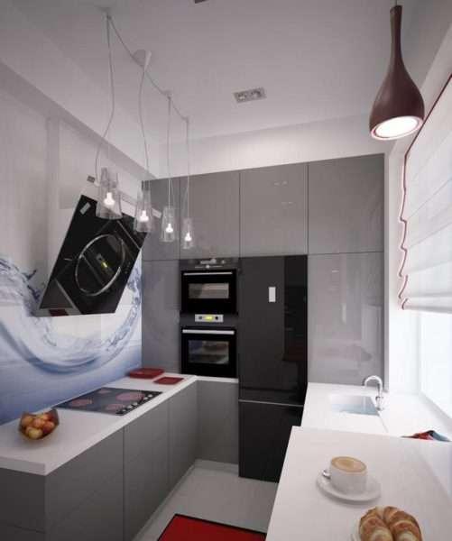 ремонт кухни шесть метров в серых тонах