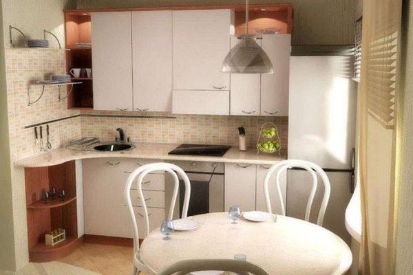 белая кухня угловая с круглым столом
