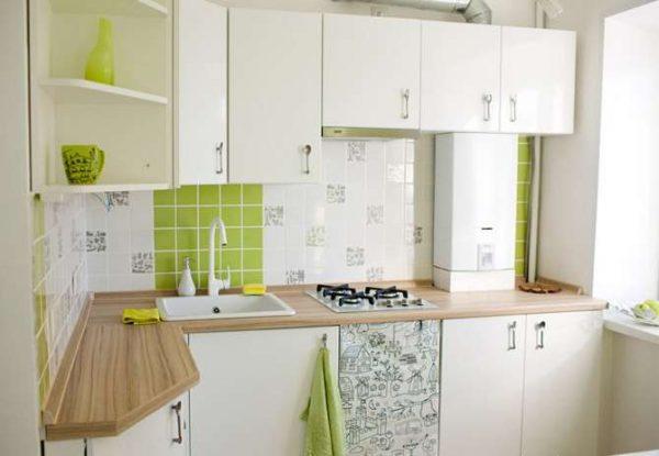 ремонт угловой белой кухни шесть метров