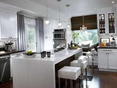 прямые и римские шторы для кухни с островом