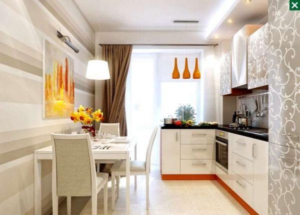 прямые тяжёлые шторы для маленькой кухни