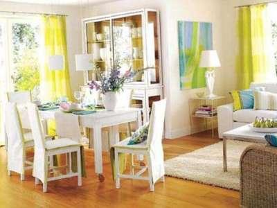 жёлтые шторы для маленькой кухни
