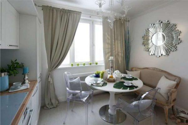 оливковые шторы для маленькой кухни