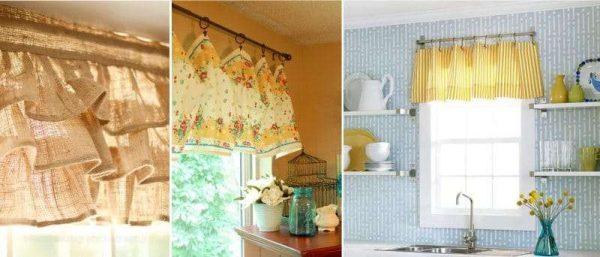 короткие шторы с воланами на кухню своими руками