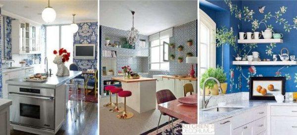сочетание синего цвета с другими в интерьере кухни