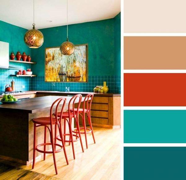сочетание бирюзового с красными цветами в интерьере кухни