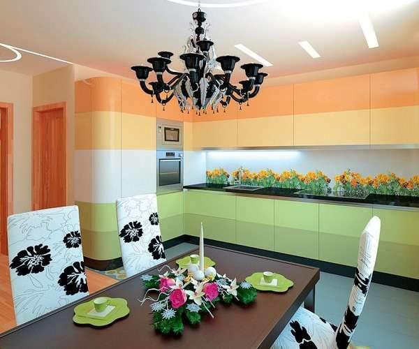 сочетание жёлтого с зелёным в интерьере кухни