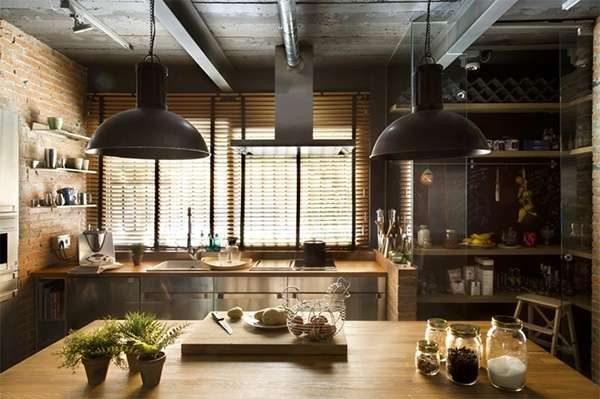 стиль лофт на современной кухне