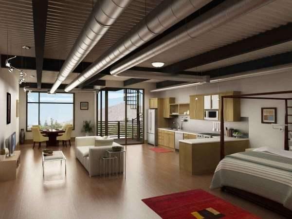 трубы на потолке кухни в стиле лофт