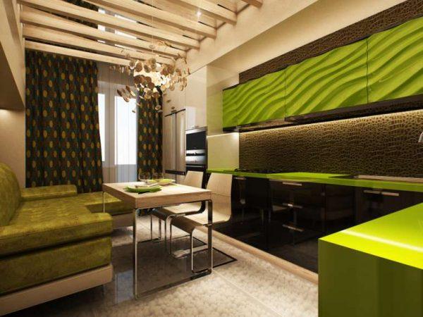 зелёный песочный и коричневый цвет на кухне в эко стиле