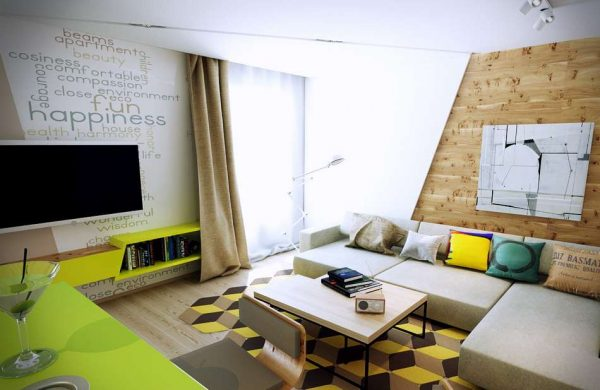 деревянная панель на стене кухни в эко стиле