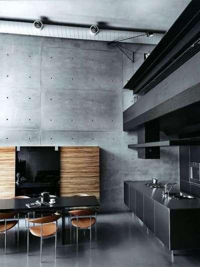 интерьер серой кухни в современном стиле лофт