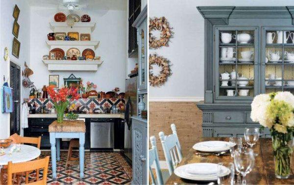 шкафы со стеклянными фасадами на кухне в средиземноморском стиле