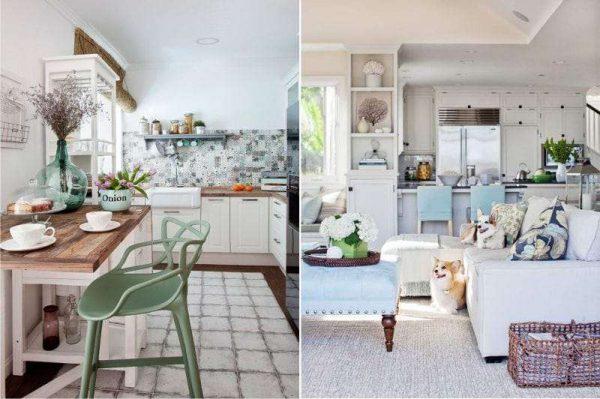 диван со столом на кухне в средиземноморском стиле