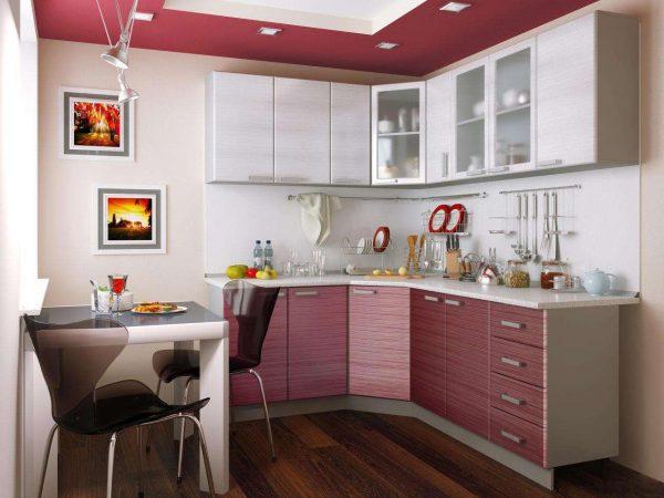 бело-розовая угловая кухня эконом класса