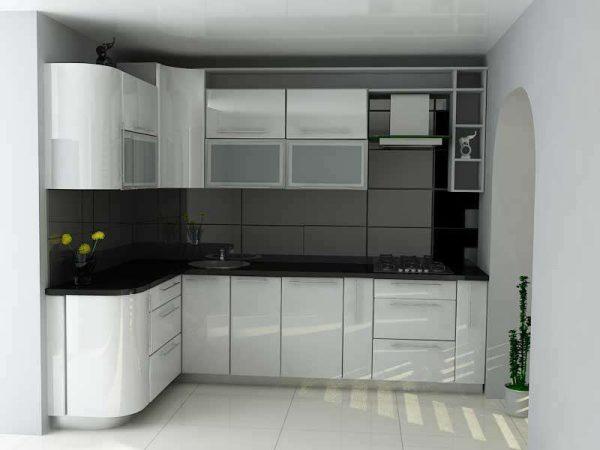 угловая кухня эконом класса в стиле хай тек