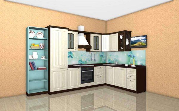 коричнево-бежевая угловая кухня эконом класса