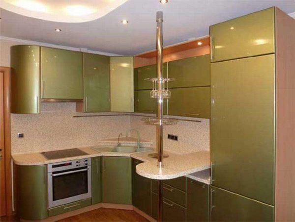 недорогая зелёная угловая кухня