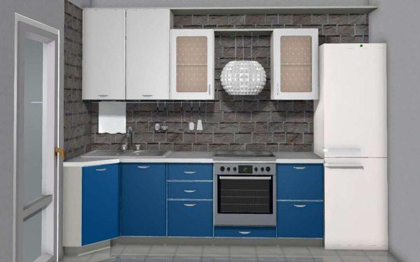 белый верх, синий низ угловой бюджетной кухни