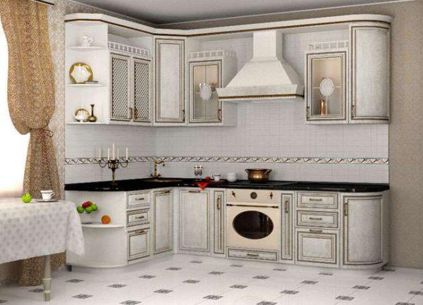 угловой гарнитур на маленькой кухне в классическом стиле