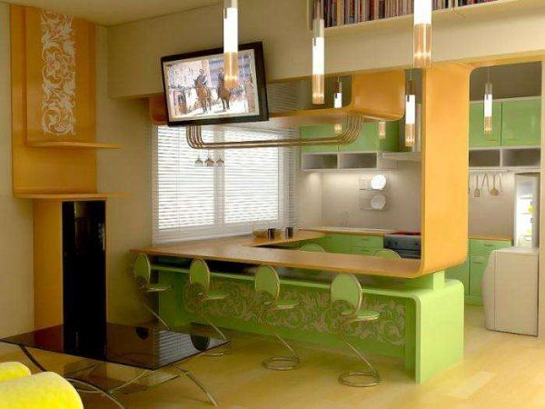 жёлто-зелёный угловой гарнитур на маленькой кухне