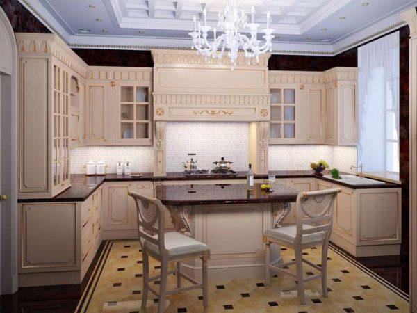 интерьер кухни гостиной с П образной планировкой