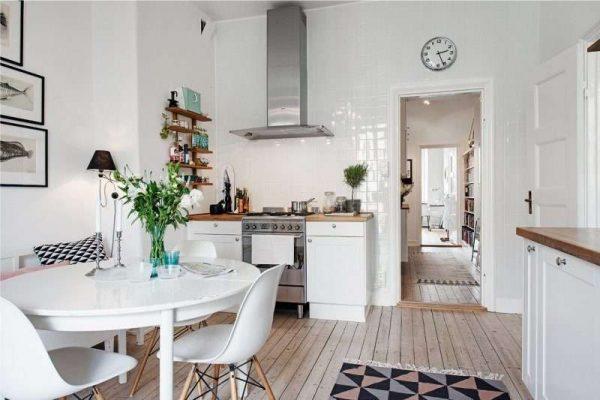 белый интерьер кухни гостиной