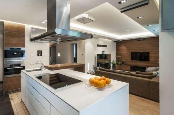 остров в интерьере кухни гостиной
