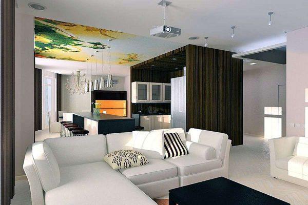 белый диван в интерьере кухни гостиной