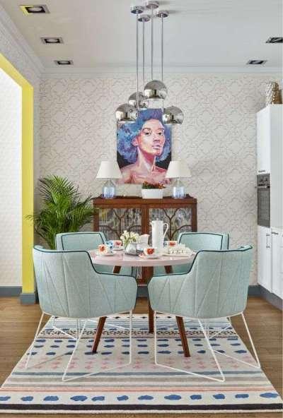 интерьер кухни гостиной со столом