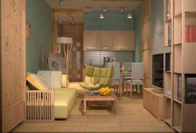 интерьер кухни гостиной с мятными стенами
