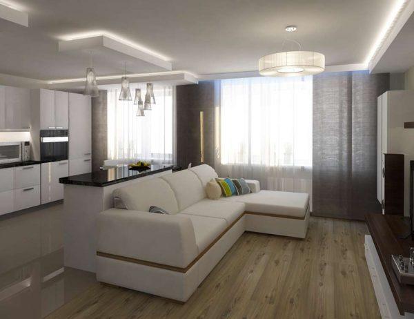 угловой белый диван на кухне гостиной