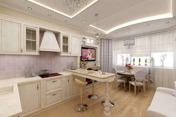 интерьер кухни гостиной с многоуровневым потолком