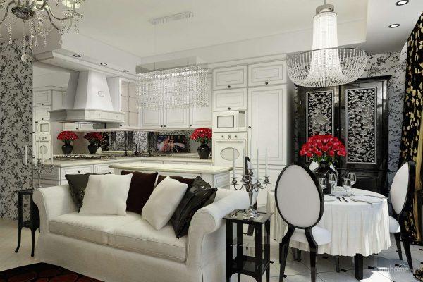 интерьер кухни столовой в стиле арт деко