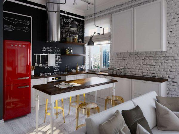 кухня лофт с кирпичной стеной