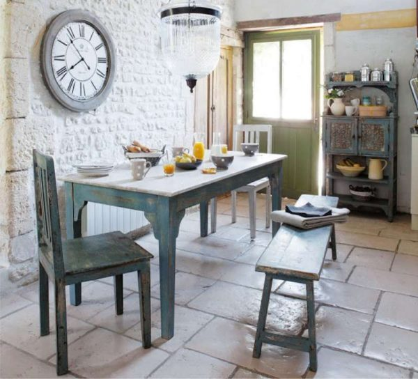 Дизайн кухни прованс с кирпичной стеной