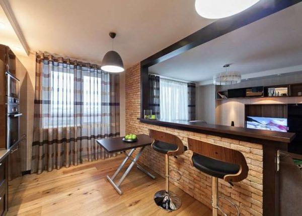 кирпичная стена перегородка на кухне