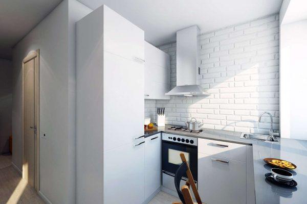 белая кухня с белой кирпичной стеной