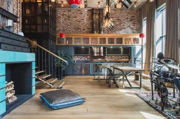 кухня в стиле лофт с кирпичной стеной