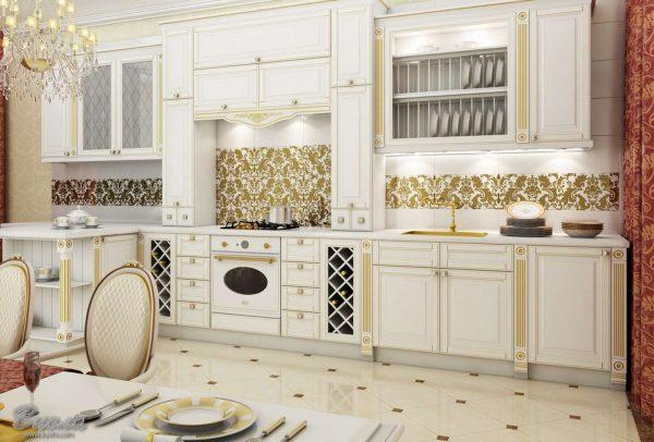 белая кухня с патированием классика