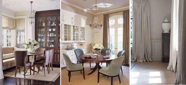 украшение окна классической кухни