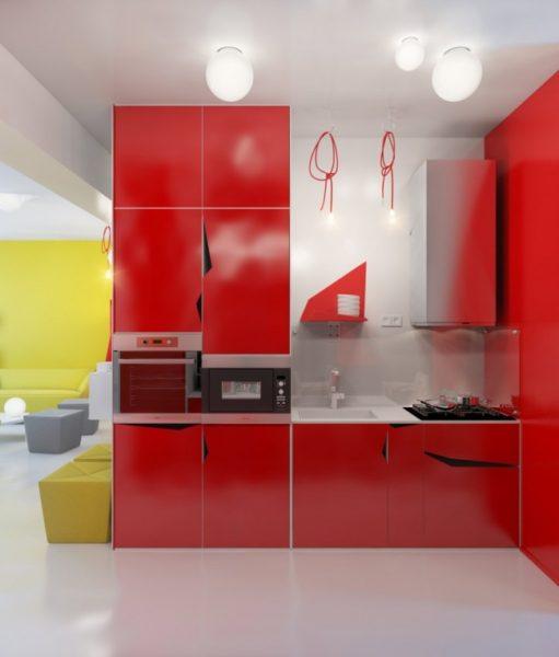 красные шкафы в интерьере кухни