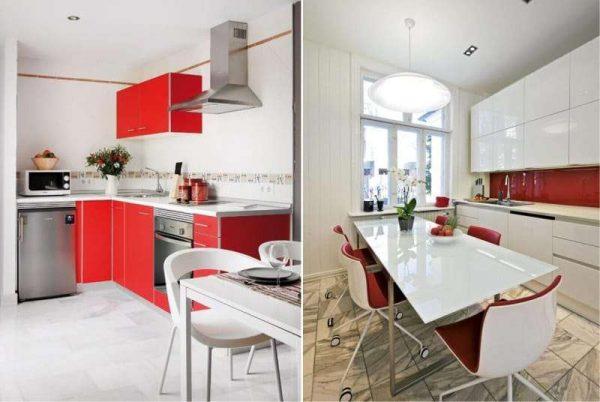 красный и белый гарнитур на кухне