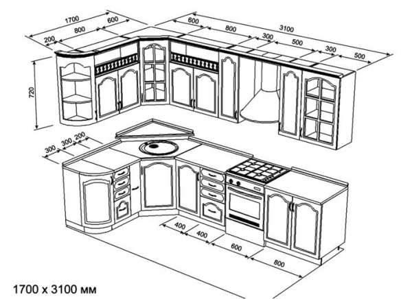 чертёж кухни из мебельных щитов